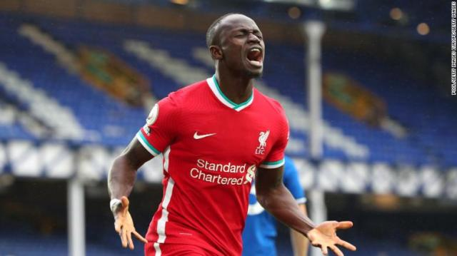 Sadio Mane celebrates after giving Liverpool the lead.