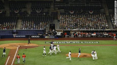 The Tampa Bay Rays celebrate beating the Houston Astros.