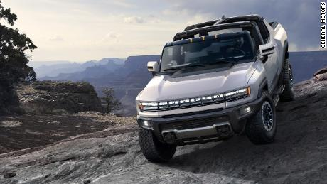 """The GMC Hummer EV has four-wheel drive, four-wheel steering and an """"Extract Mode"""" so the truck lifts itself up over obstacles."""