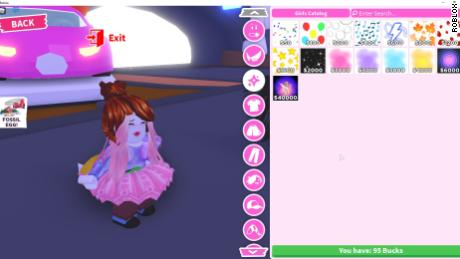 A screenshot of one of Roblox's most popular games, showing purchases that can be made with real money.