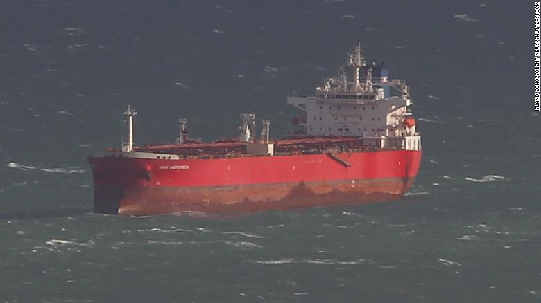 The oil tanker Nave Andromeda off the coast of England on Sunday, October 25, before British armed forces regained control of the ship.