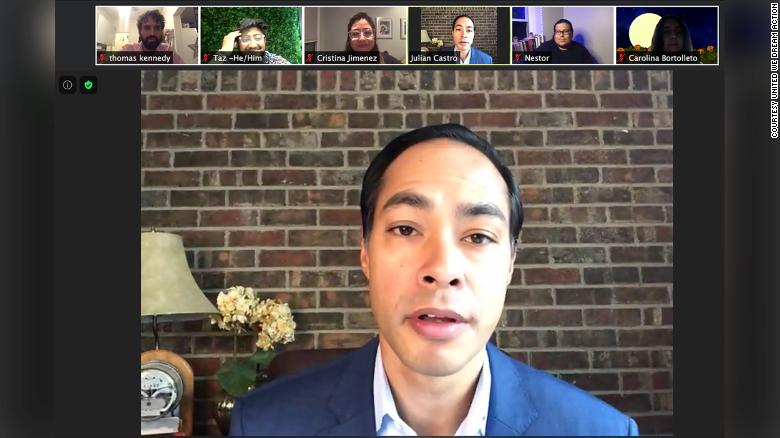 "Former Housing and Urban Development Secretary Julián Castro speaks on a Zoom call with volunteers who are reaching out to voters as part of United We Dream Action's ""Here to Stay Squad."""