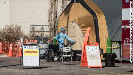 A tent for coronavirus patients setup at University Medical Center in El Paso, Texas, Friday.