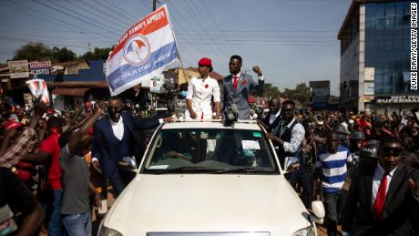 Bobi Wine parades though the streets through crowds of supporters on November 3, 2020 in Kampala, Uganda.