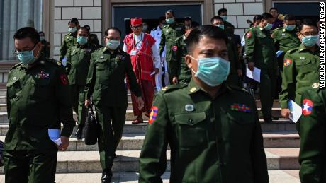 Military officers who serve as members of Myanmar's parliament after a session at the Assembly of the Union (Pyidaungsu Hluttaw) in Naypyidaw on March 10.