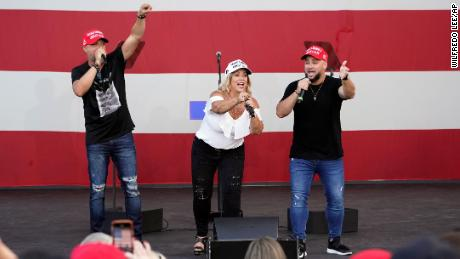 The Cuban salsa band Los 3 de La Habana sing during a Trump campaign rally at Bayfront Park Amphitheater, in Miami.