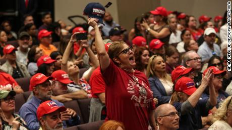 Attendees of the Evangelicals For Trump rally cheer for the President at El Rey Jesus church in Miami earlier this year.