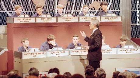 Host Alex Trebek talks to the 10 finalists in the fifth annual National Geography Bee in Washington, DC, on May 26, 1993.