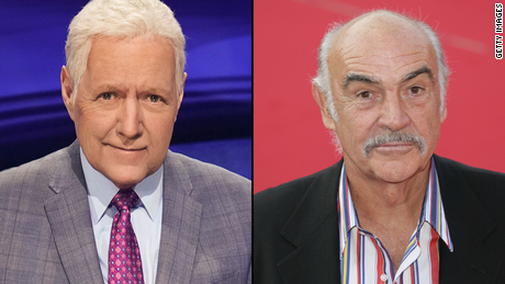 """(From left) Beloved """"Jeopardy!"""" host Alex Trebek and iconic Academy Award-winning actor Sean Connery passed eight days apart."""
