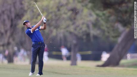 Sergio Garcia plays a shot during the first round of the Houston Open.