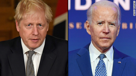 Boris Johnson will hope to secure a post-Brexit trade deal with Biden's administration.