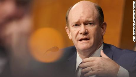 Sen. Chris Coons, a Delaware Democrat, asks a question to Secretary of State Mike Pompeo as he testifies during a Senate Foreign Relations committee hearing on the State Departments 2021 budget on July 30, 2020, in Washington, DC.