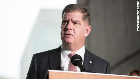 Boston Mayor Marty Walsh speaks at a press conference on March 13, 2020, in Boston, Massachusetts.