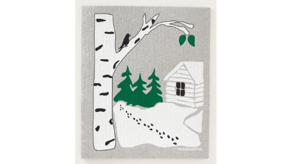 Snowy Cabin Swedish Dishcloth