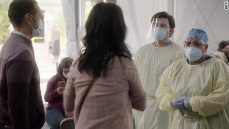 'Grey's Anatomy' will tackle coronavirus in its new season. Pictured are Jake Borelli and Chandra Wilson.