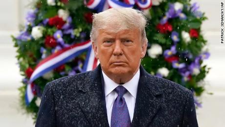 Trump participates in a Veterans Day wreath laying ceremony at the Tomb of the Unknown Soldier at Arlington National Cemetery in Arlington, Virginia., Wednesday, November 11.