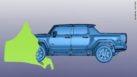 A computer model of the Hummer EV was used to test the truck's water fording capability. The green shape indicates water flowing over the front of the vehicle.