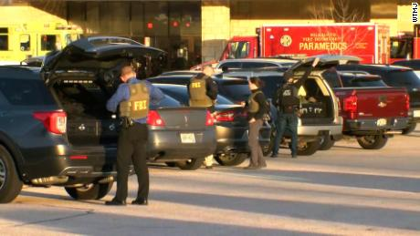 Police officers respond to the shooting at Mayfair Mall Wauwatosa, Wisconsin.