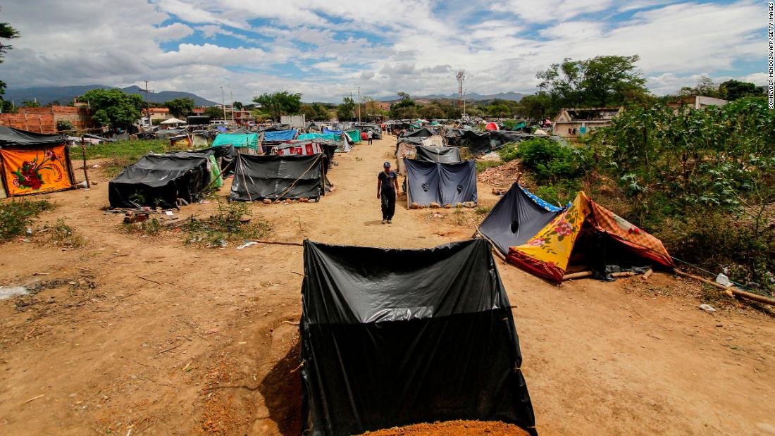 Makeshift camps at the Simon Bolivar International Bridge in Cucuta, Colombia, on July 7 , 2020.