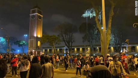 ผู้ประท้วงเดินขบวนในกรุงลิมาประเทศเปรูเมื่อวันที่ 14 พฤศจิกายน