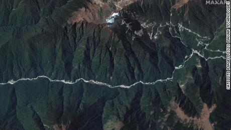 A wide view of the disputed Doklam area provided by Maxar Technologies.