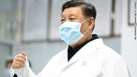 Xi Jinping checks the treatment of hospitalized patients via a video link at Beijing Ditan Hospital in Beijing on February 10.