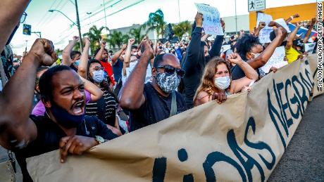 People protest in Porto Alegre, Rio Grande do Sul, Brazil, on November 20, 2020, on Black Consciousness Day.