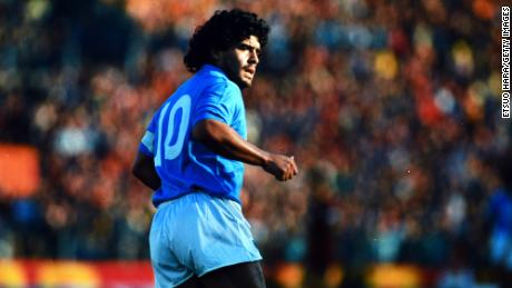 Diego Maradona playing for Napoli in 1986.
