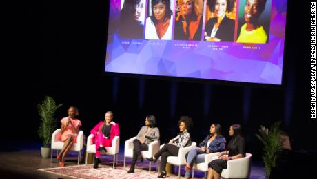 (LR) DDN Davis, Michela Angela Davis, Tatiana Ali, Unique People, Gibson, Jazmin Sullivan and Beverly Bond Stage for Black Girl Magic Panel during BGR!  Fest - March 2, 2019 in Washington D.C.  Another day at the Kennedy Center in.
