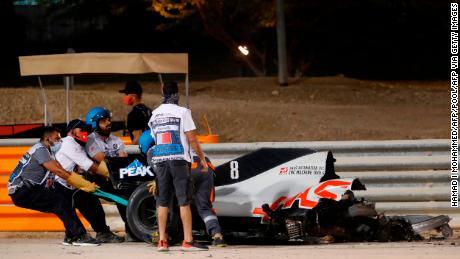 Romain Grosjean's car broke in half on impact.