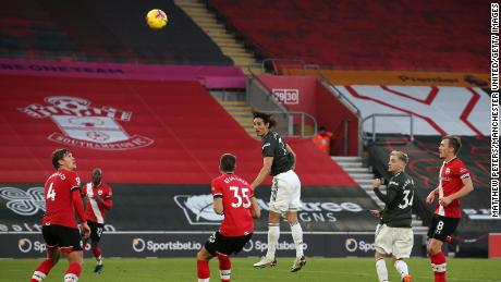 Cavani heads towards Southampton's goal on Sunday.