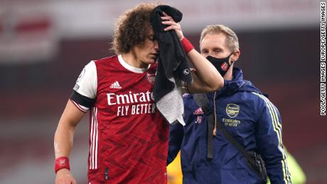 David Luiz needed stitches for the cut sustained in the collision.