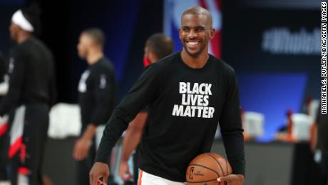 Chris Paul, #3 of the Oklahoma City Thunder smiles during the game against the Houston Rockets during Round One Game Seven of the NBA Playoffs on September 2, 2020 at The AdventHealth Arena at ESPN Wide World Of Sports Complex in Orlando, Florida.