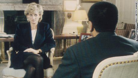 "Martin Bashir interviews Princess Diana in Kensington Palace for the television program ""Panorama"" in 1995."