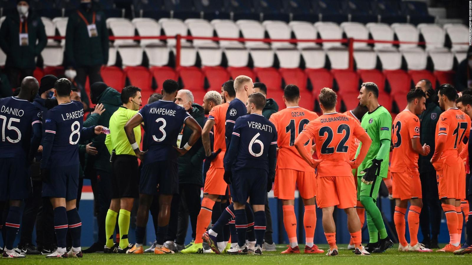 psg vs istanbul basaksehir teams walk off pitch following alleged racist incident