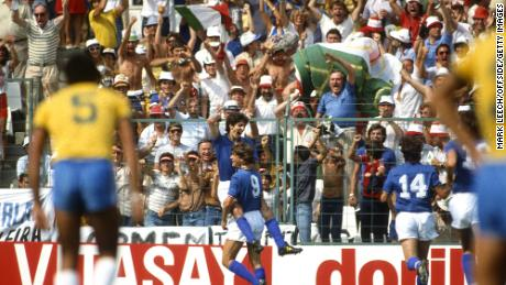 Paolo Rossi celebrates with Giancarlo Antognoni after scoring for Italy in the 3-2 win against Brazil at the 1982 World Cup.