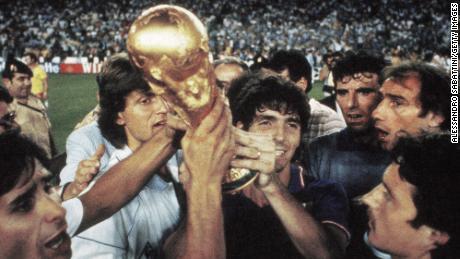 Bruno Conti, Giancarlo Antognoni, Paolo Rossi, Dino Zoff, Francesco Graziani and Franco Selvaggi of Italy celebrate after winning the 1982 World Cup.
