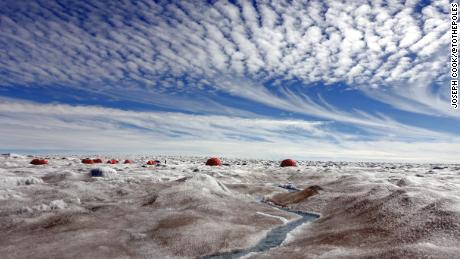 Algae blooms around a field camp on Greenland's ice sheet, where Joseph Cook was based during a 2016 expedition.