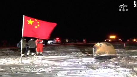 This image shows Chang's 5 sample return capsule after returning and landing at the Siziwang Banner, north of China's Inner Mongolia Autonomous Region.