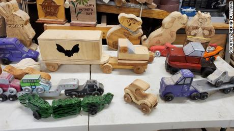 Mike Sullivan makes his own patterns and modifies others. He buys the lumber, wheels, axles and does all the cutting, drilling and sanding.
