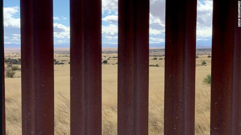 A view through border fencing looking into Mexico from the U.S. side in Arizona.