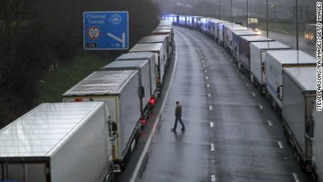 Access to the Eurotunal terminal was suspended after the port of Dover was closed and trucks parked near Folkestone, Kent, and on its way to France, said it would not accept any passengers arriving from Britain for 48 hours.