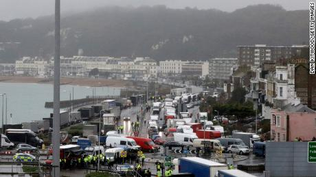 Travelers to Europe are stopped by police at the port of Dover on Wednesday morning.