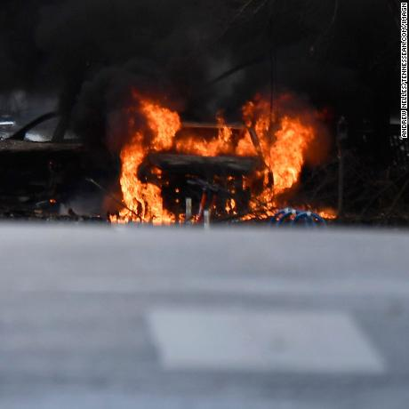 A vehicle is on fire after an explosion in the area of Second and Commerce Friday, Dec. 25, 2020 in Nashville, Tenn.