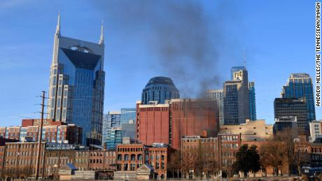Smoke rises from downtown Nashville after an explosion.