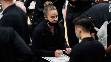 Becky Hammon called a play during the Spurs timeout in the second half;  Game against the Lakers.