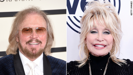 "Bee Gees singer Barry Gibb (left) and Dolly Parton (right) have teamed up for a remake of the Bee Gees' classic song ""Words."""