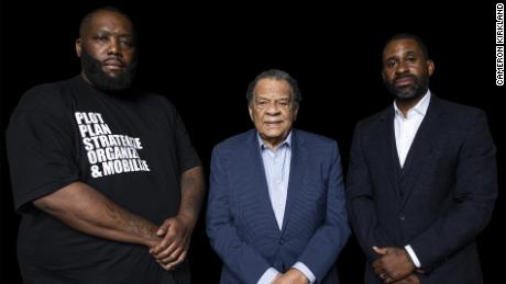 """Greenwood founders Michael """"Killer Mike"""" Render, Ambassador Andrew J. Young and Ryan Glover."""