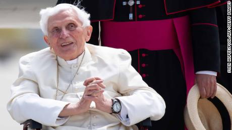 Former Pope Benedict XVI at the airport in Munich, southern Germany in June 2020