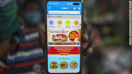 The JioMart app shown at a general store in Mumbai, India, on Monday, Nov. 9, 2020.